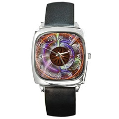 Background Image With Hidden Fractal Flower Square Metal Watch