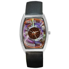 Background Image With Hidden Fractal Flower Barrel Style Metal Watch