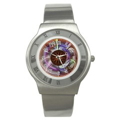 Background Image With Hidden Fractal Flower Stainless Steel Watch