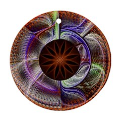 Background Image With Hidden Fractal Flower Round Ornament (Two Sides)