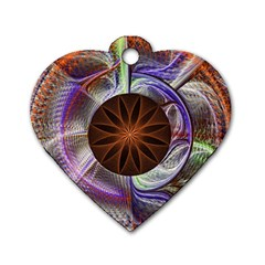 Background Image With Hidden Fractal Flower Dog Tag Heart (one Side)