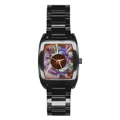 Background Image With Hidden Fractal Flower Stainless Steel Barrel Watch