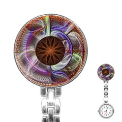 Background Image With Hidden Fractal Flower Stainless Steel Nurses Watch