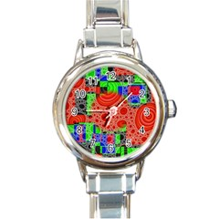 Background With Fractal Digital Cubist Drawing Round Italian Charm Watch