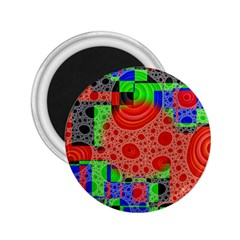 Background With Fractal Digital Cubist Drawing 2.25  Magnets