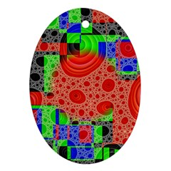 Background With Fractal Digital Cubist Drawing Ornament (oval)