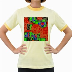 Background With Fractal Digital Cubist Drawing Women s Fitted Ringer T-Shirts