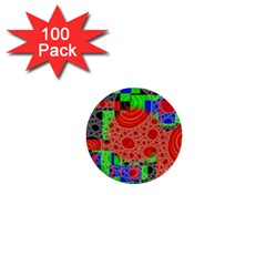 Background With Fractal Digital Cubist Drawing 1  Mini Buttons (100 pack)