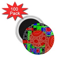 Background With Fractal Digital Cubist Drawing 1 75  Magnets (100 Pack)