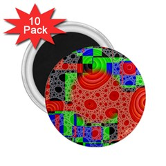 Background With Fractal Digital Cubist Drawing 2.25  Magnets (10 pack)