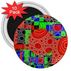 Background With Fractal Digital Cubist Drawing 3  Magnets (10 Pack)