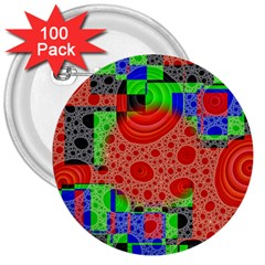 Background With Fractal Digital Cubist Drawing 3  Buttons (100 Pack)
