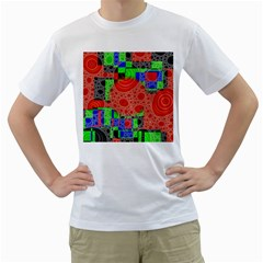Background With Fractal Digital Cubist Drawing Men s T Shirt (white) (two Sided)
