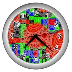 Background With Fractal Digital Cubist Drawing Wall Clocks (Silver)
