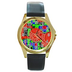 Background With Fractal Digital Cubist Drawing Round Gold Metal Watch
