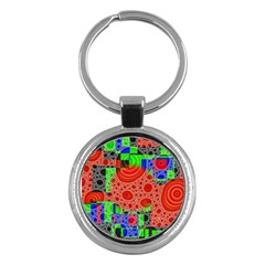 Background With Fractal Digital Cubist Drawing Key Chains (Round)