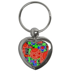 Background With Fractal Digital Cubist Drawing Key Chains (Heart)