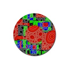 Background With Fractal Digital Cubist Drawing Rubber Round Coaster (4 Pack)