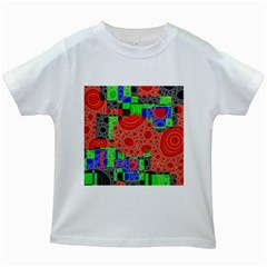 Background With Fractal Digital Cubist Drawing Kids White T Shirts