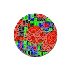 Background With Fractal Digital Cubist Drawing Magnet 3  (round)