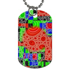 Background With Fractal Digital Cubist Drawing Dog Tag (two Sides)