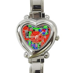 Background With Fractal Digital Cubist Drawing Heart Italian Charm Watch