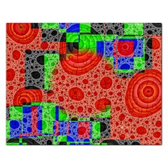 Background With Fractal Digital Cubist Drawing Rectangular Jigsaw Puzzl