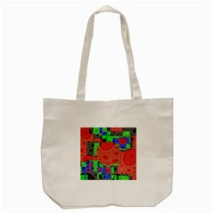 Background With Fractal Digital Cubist Drawing Tote Bag (Cream)