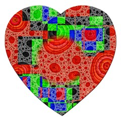 Background With Fractal Digital Cubist Drawing Jigsaw Puzzle (Heart)