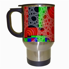 Background With Fractal Digital Cubist Drawing Travel Mugs (white)