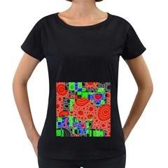 Background With Fractal Digital Cubist Drawing Women s Loose Fit T Shirt (black)