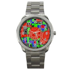 Background With Fractal Digital Cubist Drawing Sport Metal Watch