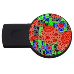 Background With Fractal Digital Cubist Drawing Usb Flash Drive Round (4 Gb)