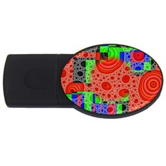 Background With Fractal Digital Cubist Drawing Usb Flash Drive Oval (4 Gb)
