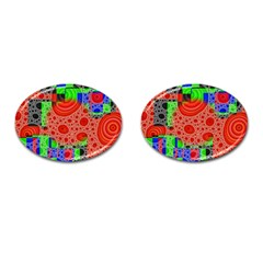 Background With Fractal Digital Cubist Drawing Cufflinks (Oval)
