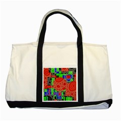 Background With Fractal Digital Cubist Drawing Two Tone Tote Bag
