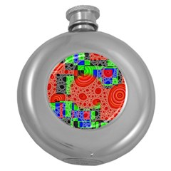 Background With Fractal Digital Cubist Drawing Round Hip Flask (5 oz)