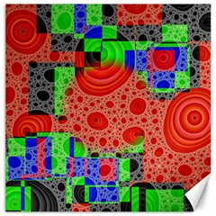 Background With Fractal Digital Cubist Drawing Canvas 12  X 12