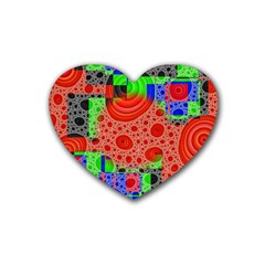 Background With Fractal Digital Cubist Drawing Heart Coaster (4 Pack)