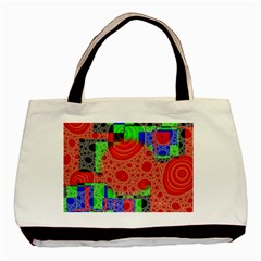 Background With Fractal Digital Cubist Drawing Basic Tote Bag (two Sides)