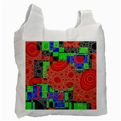 Background With Fractal Digital Cubist Drawing Recycle Bag (two Side)
