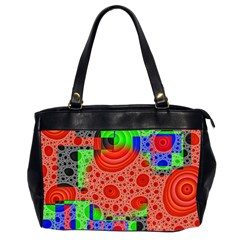 Background With Fractal Digital Cubist Drawing Office Handbags (2 Sides)