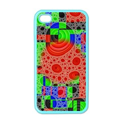 Background With Fractal Digital Cubist Drawing Apple iPhone 4 Case (Color)