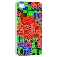 Background With Fractal Digital Cubist Drawing Apple Iphone 4/4s Seamless Case (white)