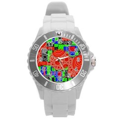 Background With Fractal Digital Cubist Drawing Round Plastic Sport Watch (L)