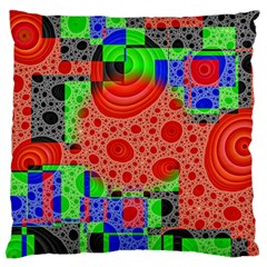 Background With Fractal Digital Cubist Drawing Large Cushion Case (One Side)