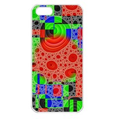 Background With Fractal Digital Cubist Drawing Apple iPhone 5 Seamless Case (White)