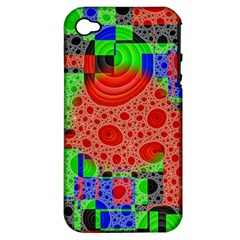Background With Fractal Digital Cubist Drawing Apple iPhone 4/4S Hardshell Case (PC+Silicone)