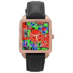 Background With Fractal Digital Cubist Drawing Rose Gold Leather Watch