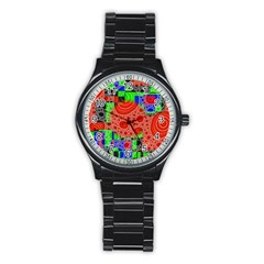 Background With Fractal Digital Cubist Drawing Stainless Steel Round Watch